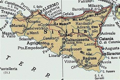 Palermo Sicily Birth Records Map Of Sicily Contessa Entellina Not Shown But About A Third Of The Way Between