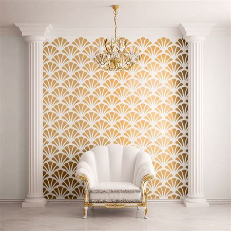 wall pattern stencils uk scallop shell pattern wall stencil contemporary wall