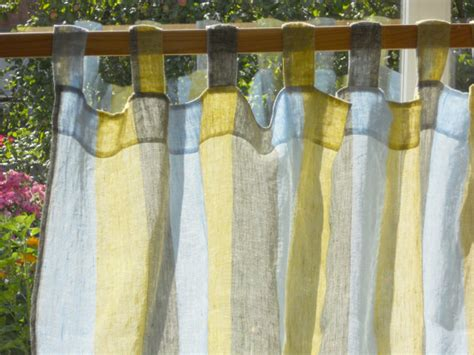 linen kitchen curtains striped curtain panel semi sheer gauzy linen kitchen curtain