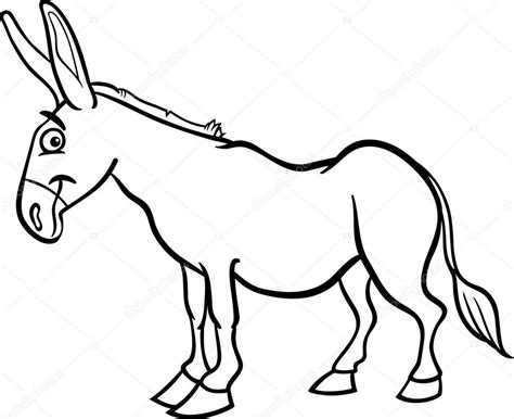donkey tail coloring page farm donkey cartoon for coloring book stock vector