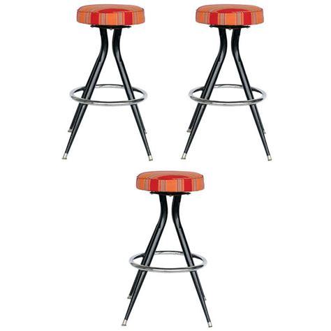 Set Of Three Black Bar Stools by Black Steel Swivel Bar Stools Set Of Three At 1stdibs