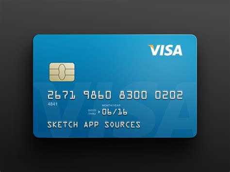 card free visa credit card template sketch freebie free