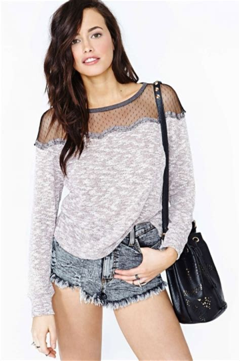 See Through Mesh Sleeve Top mesh see through shoulder sleeve t shirt top