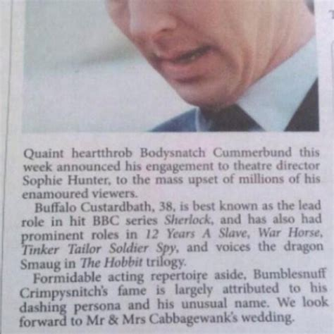 Wedding Announcement Buffalo News by Newspaper Congratulates Benedict Cumberbatch On His Engagement