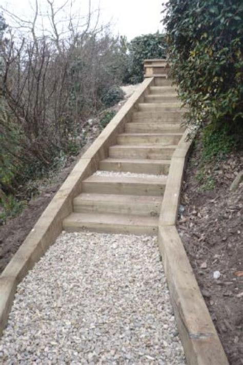 Sleeper Steps by Salcombe Railway Sleeper Steps