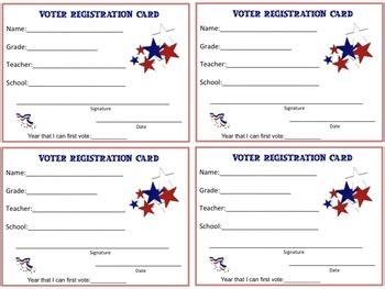 Voter Registration Card Template by Voter Registration Cards For Students By Bray Tpt
