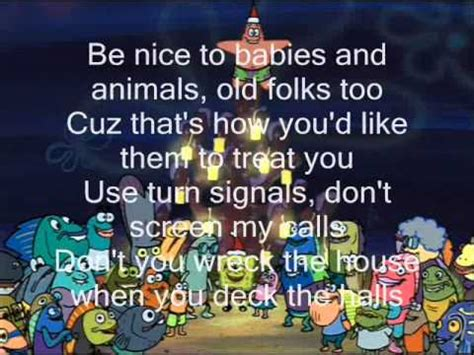 spongebob christmas song spongebob squarepants don t be a it s lyrics