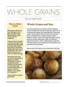 whole grains handout 1000 images about coordinated school health on