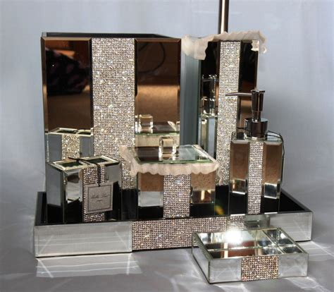 Mirrored Bathroom Accessories Sets Mirror Rhinestone Bathroom Accessories Soap Tray Wastebasket Jar Ebay