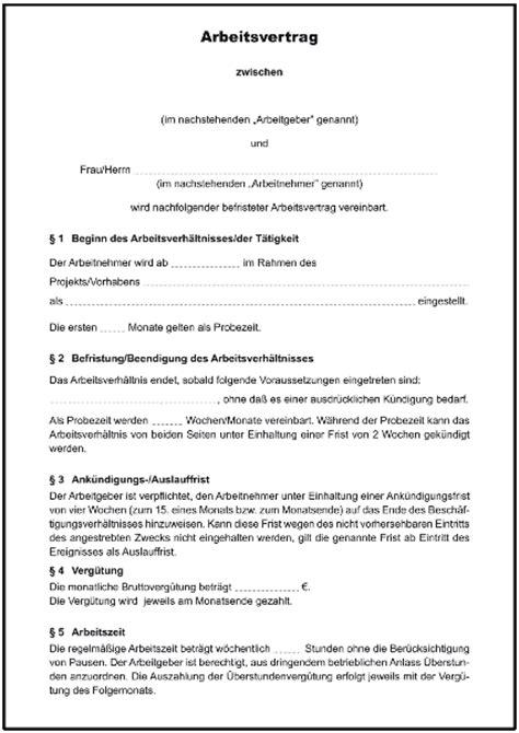 Kostenlose Vorlage Arbeitsvertrag Minijob Projektbezogener Arbeitsvertrag Befristet Formulare Gratis