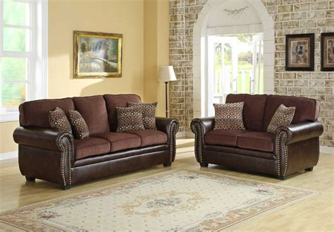homelegance beckstead sofa set chocolate chenille and brown pu u9735 3