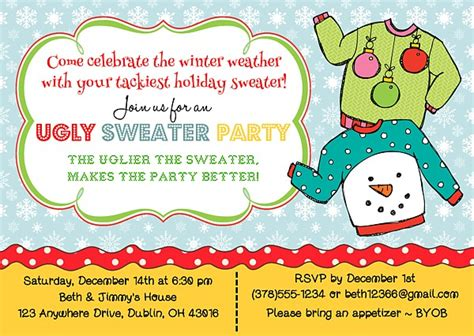 ugly christmas sweater poems sweater invitations