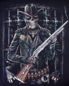 glow in the dark tattoo skeleton sheriff shotgun t shirt police sheriff mens t shirts tattoo biker rock