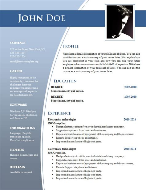 resume with photo format doc cv templates for word doc 632 638 free cv template dot org