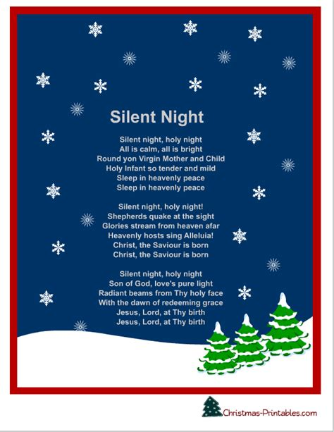 printable lyrics free printable silent night christmas carol lyrics free