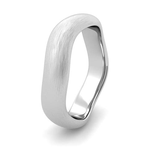 curved brushed finish wedding ring platinum comfort fit