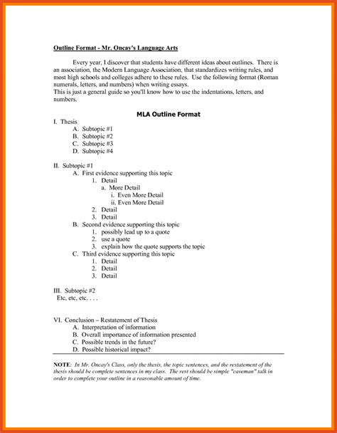 Exle Of An Essay Outline Format by Outline Mla Format Moa Format