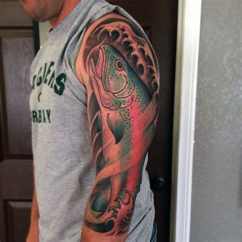 tattoo inspiration male sleeve 60 trout tattoo designs for men freshwater fish ink ideas