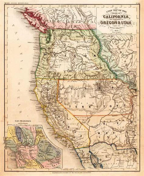 map of oregon 1800s california oregon utah 1852 maps