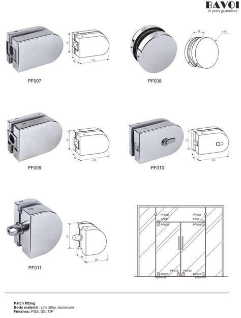 Bathroom Glass Door Fittings Patch Fittings For Glass Sliding Doors Pf007 008 009 010 011