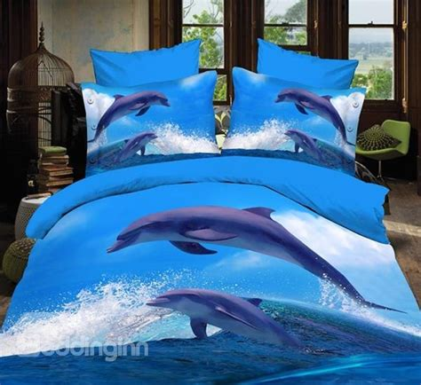 dolphin bedding dolphins jumping out of blue water print polyester 3d bedding sets beddinginn com