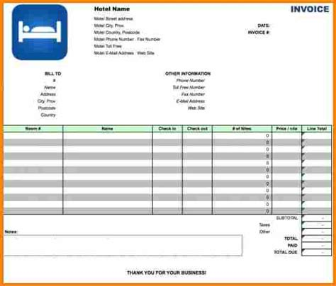 hotel invoice template 5 hotel bill format in excel free simple bill