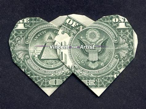2 Dollar Bill Origami - hearts money origami dollar bill