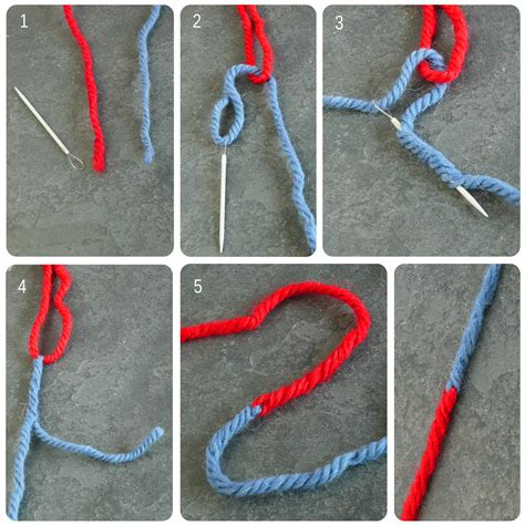knitting joining wool joindre 2 bouts de comme le fait le marin au