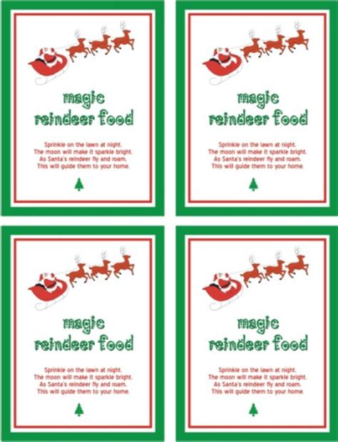 printable magic reindeer food gift tags printable reindeer food poem christmas pinterest