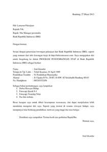 10 contoh surat lamaran kerja ke bank ben