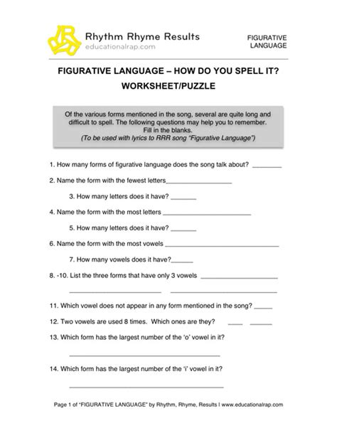 Figurative Language Worksheets For Middle School by 19 Best Images Of 7th Grade Figurative Language Worksheet