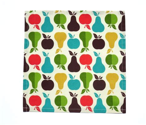 Handmade Napkins - apples pears cloth napkins handmade from 100 cotton