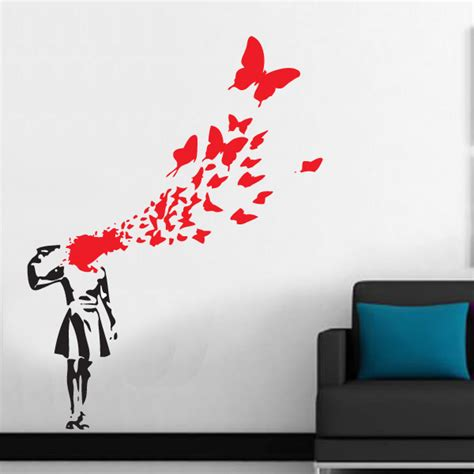 Personalised Name Wall Stickers For Kids butterfly suicide girl banksy inspired wall decal