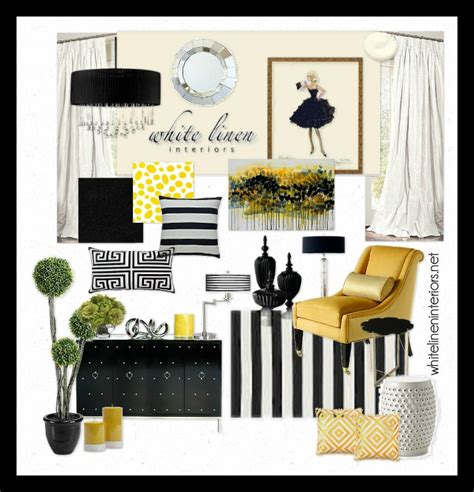 ob uptown chic yellow black and white white linen interiors