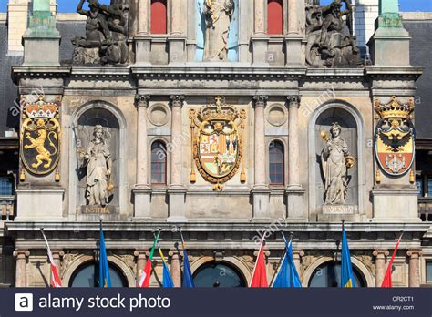 cofortersburlington coat factory coat of arms on the facade of the town in antwerp belgium stock photo royalty free image