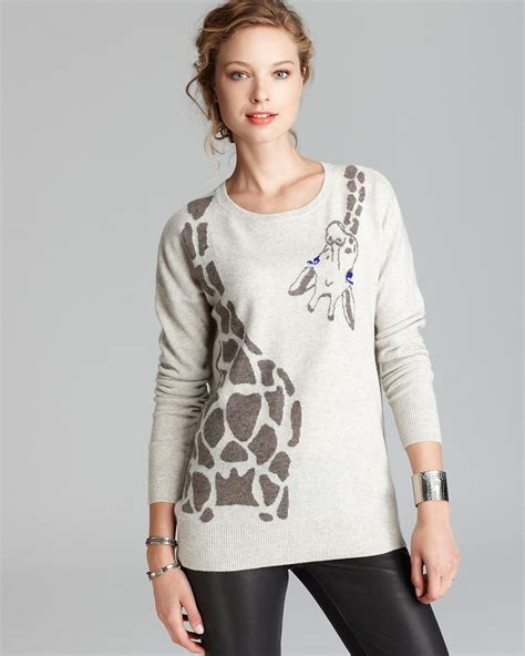 Girafe Jumper aqua sweater giraffe wrap around intarsia bloomingdale s