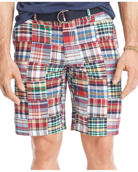 Patchwork Madras Shorts - izod s patchwork 9 5 quot flat front shorts in for