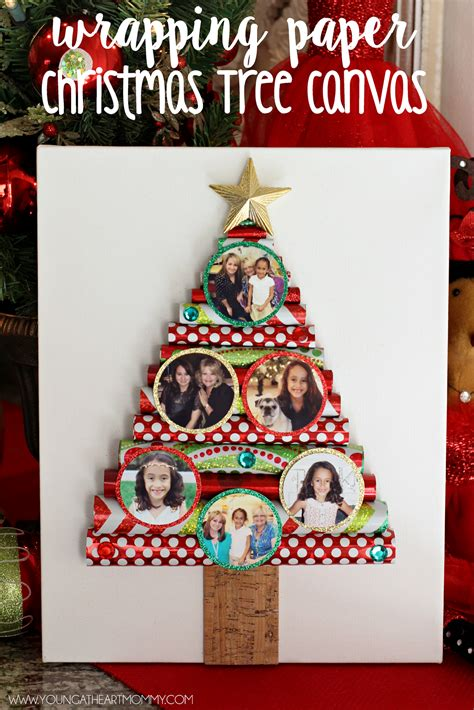 wrapping paper christmas tree canvas with photo ornaments