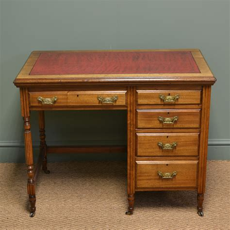 quality small edwardian walnut antique writing desk