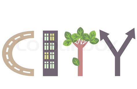 City word abstract illustration   Stock Vector   Colourbox