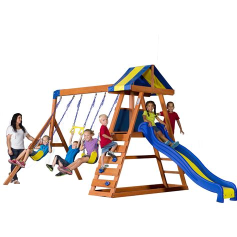 backyard swing set backyard discovery dayton cedar wooden swing set ebay