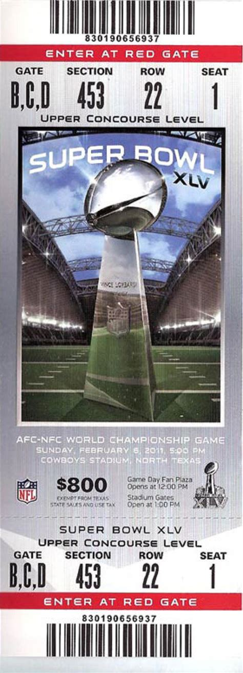 superbowl tickets super bowl xlv packers 31 steelers 25 photos tickets