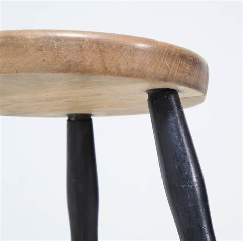 Thick Black Stool by Tribase Stool With Thick Wooden Seat For Sale At 1stdibs