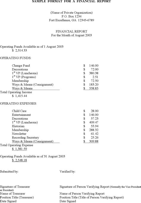 simple financial report template personal financial statement form free