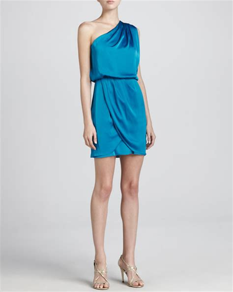 one shoulder draped cocktail dress aidan mattox one shoulder draped skirt cocktail dress