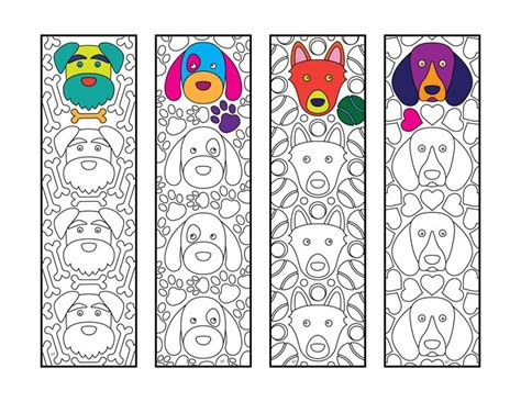 cute dog bookmarks  zentangle coloring page