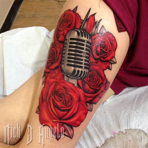 microphone rose tattoo microphone and roses by nickdangelotattoos on
