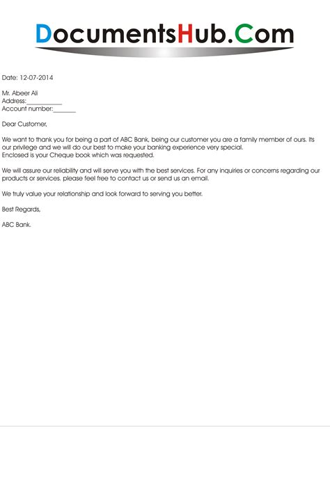 Service Letter For Bank Loan Thank You Letter From Bank To Customer Documentshub