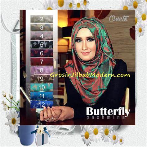 Segi Empat Silk Butterfly jilbab pashmina panjang motif butterfly cantik