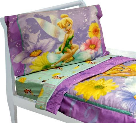 Tinkerbell Toddler Bedding Set 4pc Disney Fairy Flowers Tinkerbell Bedding Set
